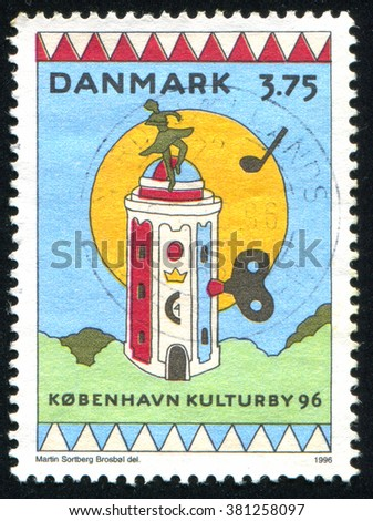 RUSSIA KALININGRAD, 22 DECEMBER 2013: stamp printed by Denmark, shows Round Tower as music box, circa 1996 - stock photo