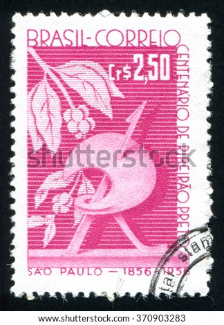 RUSSIA KALININGRAD, 23 MARCH 2014: stamp printed by Brazil, shows  Coffee Plant and Symbolic R, circa 1956 - stock photo