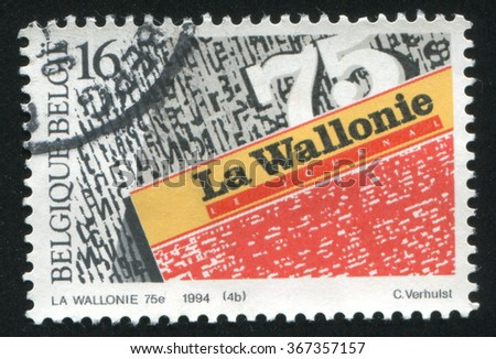 RUSSIA KALININGRAD, 26 OCTOBER 2015: stamp printed by Belgium, shows Daily Newspapers, La Wallonie, circa 1994 - stock photo