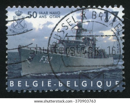 RUSSIA KALININGRAD, 19 OCTOBER 2015: stamp printed by Belgium, shows Frigate Wandelaar, NATO, circa 1999 - stock photo