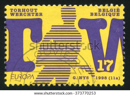 RUSSIA KALININGRAD, 26 OCTOBER 2015: stamp printed by Belgium, shows National Festivals, circa 1998 - stock photo
