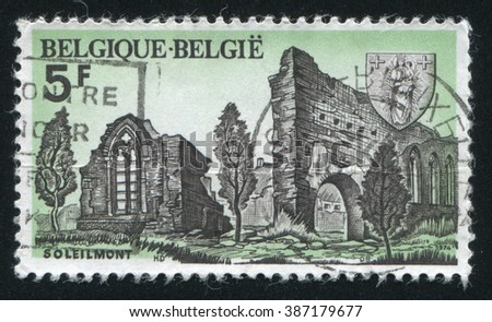 RUSSIA KALININGRAD, 20 OCTOBER 2015: stamp printed by Belgium, shows Soleilmont Abbey Ruins, circa 1974 - stock photo