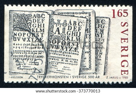 RUSSIA KALININGRAD, 20 OCTOBER 2013: stamp printed by Sweden, shows ABC Books, circa 1983 - stock photo