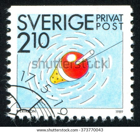 RUSSIA KALININGRAD, 21 OCTOBER 2013: stamp printed by Sweden, shows Angling, circa 1989 - stock photo