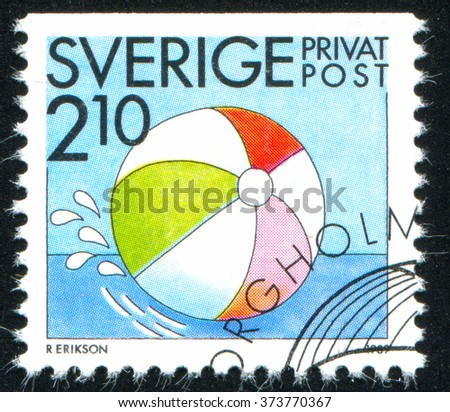 RUSSIA KALININGRAD, 21 OCTOBER 2013: stamp printed by Sweden, shows Beach ball, circa 1989 - stock photo