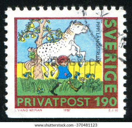 RUSSIA KALININGRAD, 21 OCTOBER 2013: stamp printed by Sweden, shows Pippi Longstocking, circa 1987 - stock photo