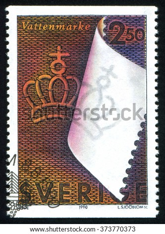 RUSSIA KALININGRAD, 6 OCTOBER 2013: stamp printed by Sweden, shows Watermark, circa 1990 - stock photo