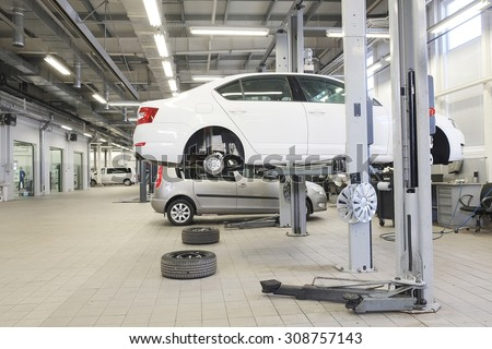 Russia, Kaluga, August, 19, 2015: Interior of a car repair station in Kaluga, Russia - stock photo