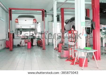 Russia, Kaluga, July, 8, 2015: Interior of a car repair station in Kaluga, Russia - stock photo