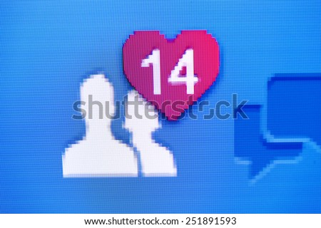 RUSSIA, KAZAN, 10 february 2015: Heart sign in the status bar social network Facebook, February 14, Valentine's Day - stock photo
