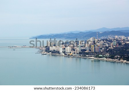 Russia, Krasnodar krai, Sochi cityscape, the view from the height of the Central part of the city and sea trade port - stock photo