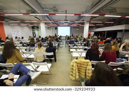 RUSSIA, MOSCOW -?? 07 DEC, 2014: Audience listen speaker during Open Doors Day in British high school of design. - stock photo
