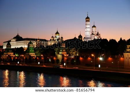 Russia, night, the Kremlin - stock photo