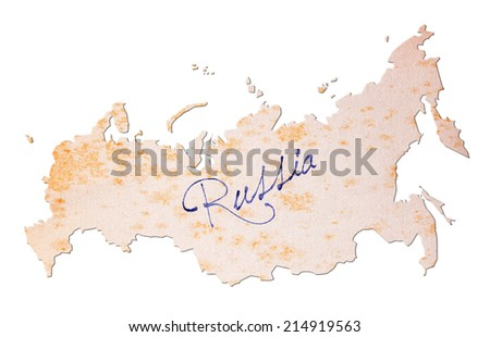 Russia - Old paper with handwriting, blue ink - stock photo