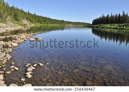 Russia Polar Urals. Virgin Komi forests, taiga river Paga. - stock photo