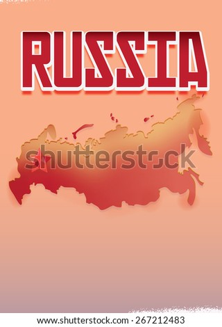 """Russia Poster, this is a Poster with the word """"Russia' in a vintage soviet style red text, there is a map of the russian federation in red, a soviet style star is located at Moscow location. - stock photo"""