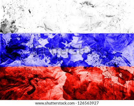 Russia. Russian flag  painted dirty and grungy paper - stock photo