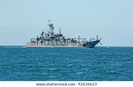 Russia's military ship and boat at Black sea, Ukraine - stock photo