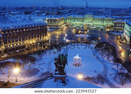 Russia, The Building of Legislative assembly of St Petersburg, Isaak Square, night, winter, top view - stock photo