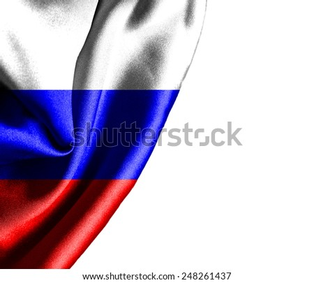 Russia waving silky flag isolated on white background - stock photo
