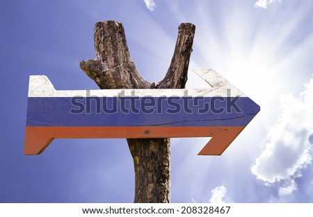 Russia wooden sign on a beautiful day - stock photo