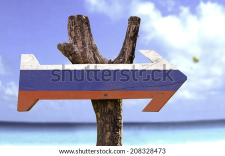 Russia wooden sign with a beach on background  - stock photo