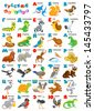 Russian alphabet with funny animals - stock photo