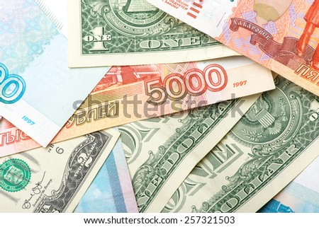 Russian and american money - stock photo