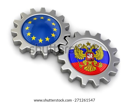 Russian and European union flags on a gears (clipping path included) - stock photo