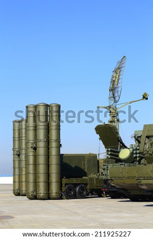 Russian anti-aircraft large and medium-range  missile system  of new generation - stock photo