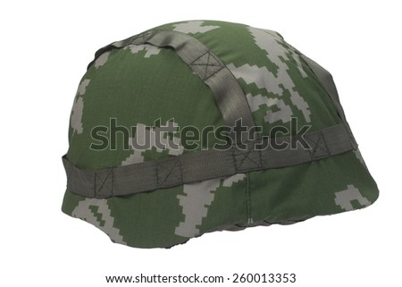 russian army helmet isolated on white - stock photo