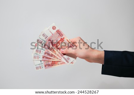 Russian Banknotes Rubles in hand - stock photo