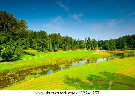 Russian beautiful landscape on a sunny summer day - stock photo