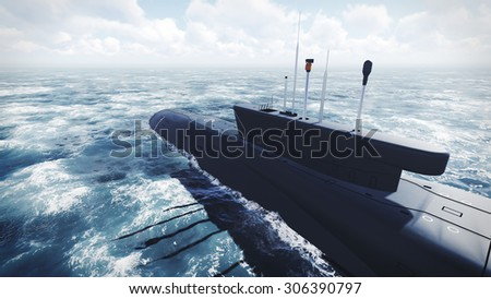 Russian Borei class submarine at the northern waters. Realistic 3D illustration was done from my own 3D rendering file. - stock photo