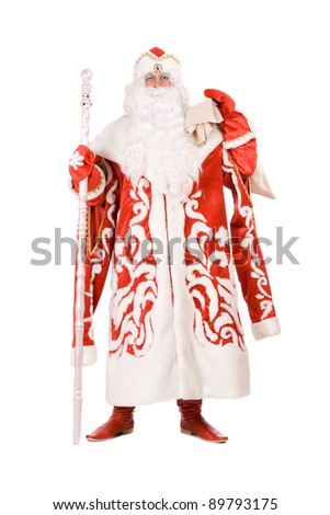 Russian Christmas character Ded Moroz (Father Frost). Isolated on white - stock photo