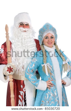 Russian Christmas characters Ded Moroz (Father Frost) and Snegurochka (Snow Maiden) - stock photo