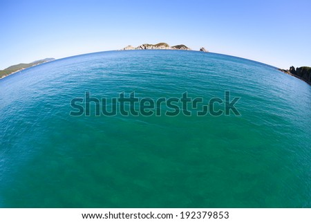 Russian coast of Japan sea. Fish-eye lens. - stock photo