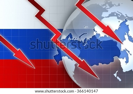 Russian currency ruble crisis - concept news background illustration - stock photo