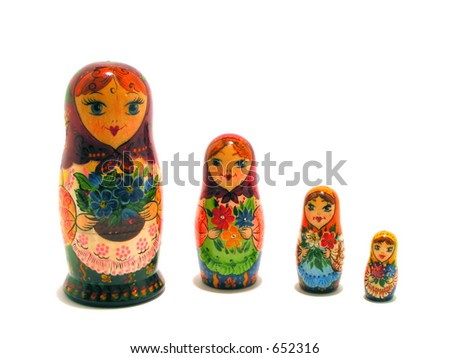 Russian Dolls in a group - stock photo