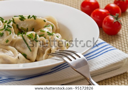 Russian dumplings boiled served on white plate - stock photo
