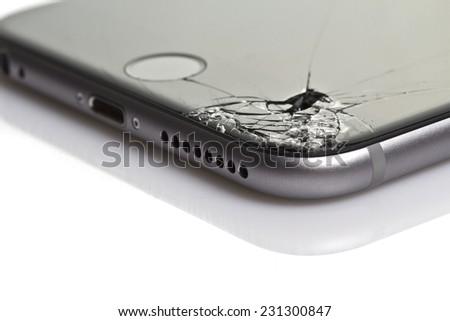 RUSSIAN FEDERATION, SOCHI - NOVEMBER 18, 2014: iphone 6 plus with broken screen on 18 november 2014 in Russian Federation Sochi - stock photo