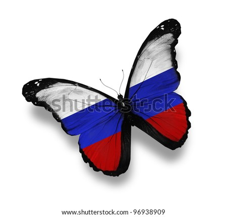 Russian flag butterfly, isolated on white - stock photo
