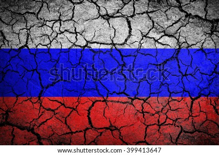 Russian flag on a cracked background - stock photo
