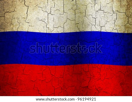 Russian flag on a cracked grunge background - stock photo