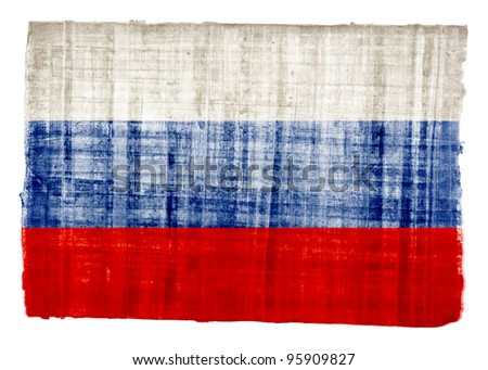 Russian flag on original papyrus background - stock photo