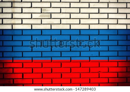 Russian flag on the old bricks  - stock photo
