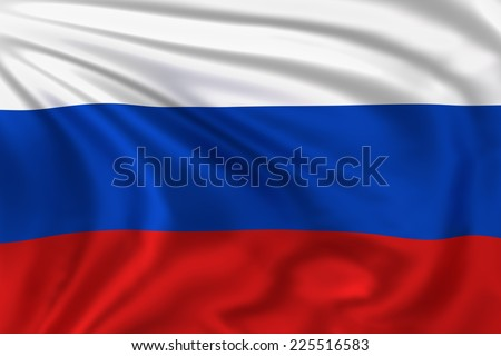 Russian flag waving in the wind. High quality illustration.  - stock photo