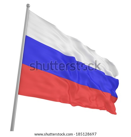 Russian flag waving isolated on white - stock photo