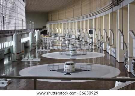 russian hydro power plant machine hall interior - stock photo