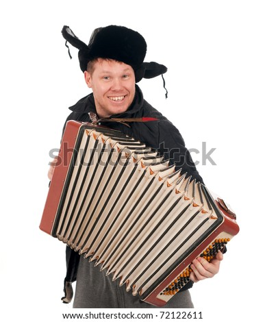 Russian man with accordion,red-neck.isolated on white background - stock photo